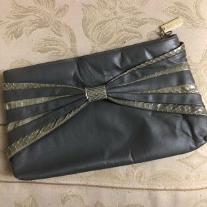 Vintage Leather Gray Snakeskin Clutch by Lorenzo